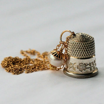 Antique Dogwood Thimble and Acorn Hidden Kisses Necklace Peter Pan and Wendy in Vermeil (gold layered over Solid Sterling Silver