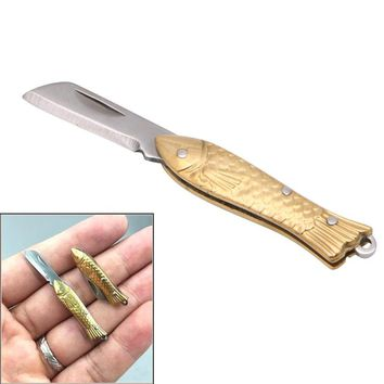 Small Fish-shape Keyring Pocket Keychain Tactical Folding Folder Knife Brass