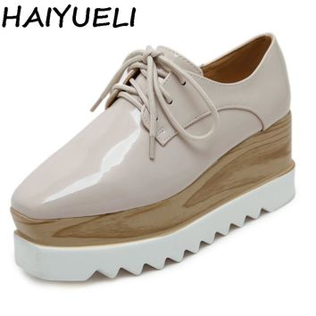 HAIYUELI Plain Concise Women Oxfords Preppy Style Girl Casual Platform Flat Heel Shoes Creepers Vinyl Glossy Shoes Woman Black