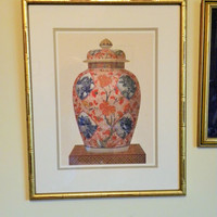Bombay Ginger Jar Art Print  Bamboo Frame Gold Gilt - Wall Art -Chinoserie Gold Gild Oriental Chic 21 x 17