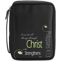 Bible Cover – Philippians 4:13 Black/Green – Large [BCV-246] - $24.99 : Find Christian Gifts and Jewelry - DicksonsGiftShop.com