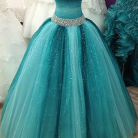 Beaded Floor Length  Prom Gown Dress  I067
