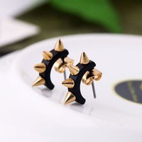 Bestpriceam® 1pair Fashion Retro Pin Piercing Earrings Rock Punk Screw Spike Rivets Ear Studs Black