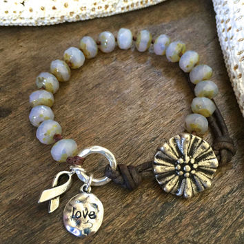"Rustic Knotted Leather Wrap Bracelet Silver Beaded Jewelry, ""Love"" Cancer Awareness Ribbon by Two Silver Sisters twosilversisters"
