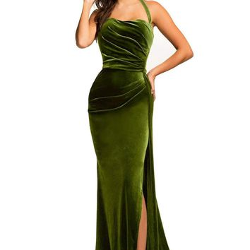 Green Thigh High Split Velvet Evening Gown