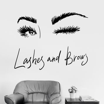 Vinyl Wall Decal Sexy Girl Eyes Eyelashes Brows Beauty Salon Eye Wink Stickers Unique Gift (1794ig)