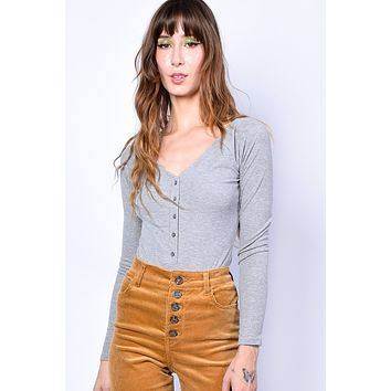 Absent Minded Button Up Bodysuit