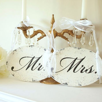 Mr. and Mrs. Wedding Chair Sign. Vintage Style Finish.