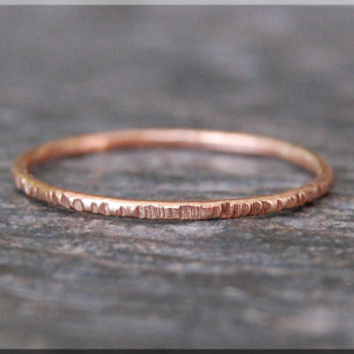 14k Rose Gold Twig Ring, Bark Texture Ring, Solid 14k Gold Stacking Ring, Rose Gold Thin Stackable Ring, Woodland Ring, Gold Filled Ring