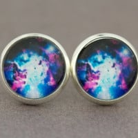Fake Plugs : Blue, White and Fuchsia, Space, Galaxy, Earrings, Fake Plugs, Beach, Summer, ArtisanTree, Stars, Constellation