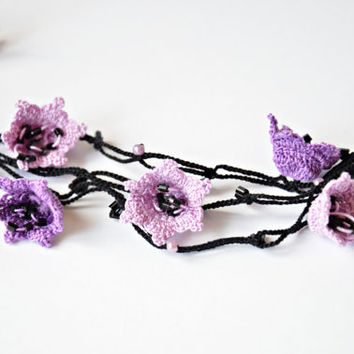 Purple Lavender 3D Flowers Crochet Oya Necklace Beaded Lariat Necklace Jewelry Beadwork ReddApple Gift Ideas for Her