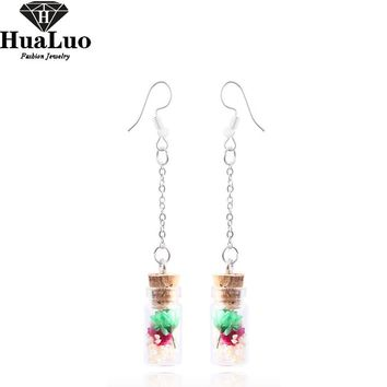 HUALUO New Handmade Drift Bottle Pendant Dangle Earrings Vintage Dried Flower Long Tassel Drop Earrings Jewelry Gifts For Women