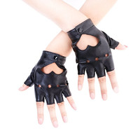 Heart Cutout Punk Half Finger Gloves
