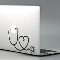 "Stethoscope - Apple Macbook Laptop Decal Sticker Vinyl Mac Pro Air Retina 11"" 13"" 15"" 17"" Skin Med School Nurse Doctor Nursing MAC-033"