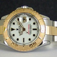 ROLEX Ladies 29mm 18kt Gold & Stainless YachtMaster White Dial 169623 SANT BLANC