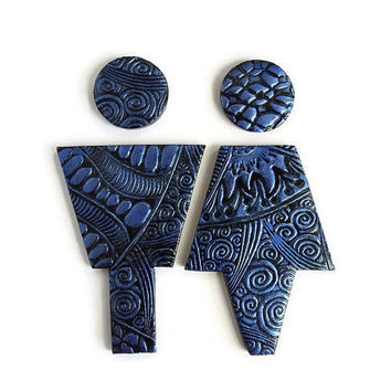 Blue and Black Bathroom Signs, Restroom Door Male Female Sign, Blue Bathroom Decor