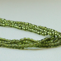 Olive Green Necklace - Peridot Green Three Strand Glass Beaded Necklace - Everyday Wearable Jewelry