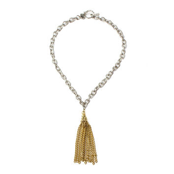 Shades of silver tassel choker