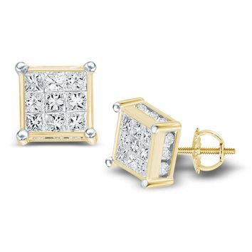 14kt Yellow Gold Women's Princess Diamond Square Cluster Stud Earrings 3-4 Cttw - FREE Shipping (USA/CAN)