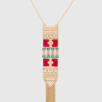 Mabel Beaded Necklace - One Size / Red