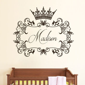 Wall Decals Custom Personalized Name Princess Sticker Crown Vinyl Nursery SM185