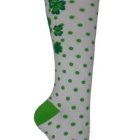 Clover Knee High Socks in White and Green