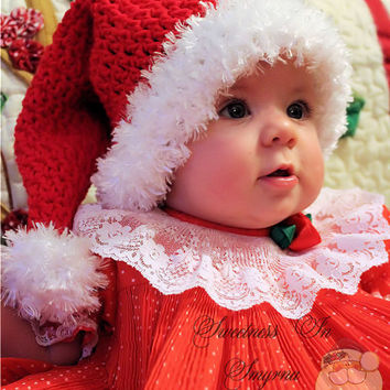 Christmas - Baby Santa Hat - Crocheted Baby Hat - Unisex - Babies First Christmas - Santa Stocking Hat - Photo Prop