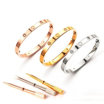 316L Stainless Steel carter Love Bracelet Women Men Luxury brand Screwdriver Rose Gold Bangle Screw Bracelet Pulseiras Femininas