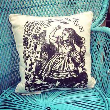 Alice In Wonderland Cushion featuring Alice and the Pack of Cards