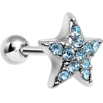 18 Gauge Aqua CZ Feel Like a Star Cartilage Tragus Earring
