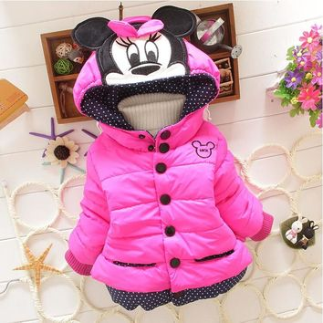 New Minnie Girls Jacket Cotton Keeping Warm Winter Coat Chirdren Character Lovely Hoodies Kids Clothing