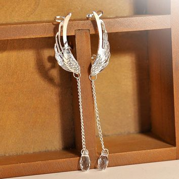 1 Pair Silver Angel Wing Crystal Earrings Drop Dangle Ear Stud Clip Cuff