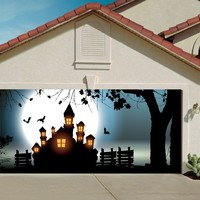 Garage Door Halloween Decorations Cover Decor Night Sky Moon 3d Billboard Outside Decoration for Garage Door Halloween