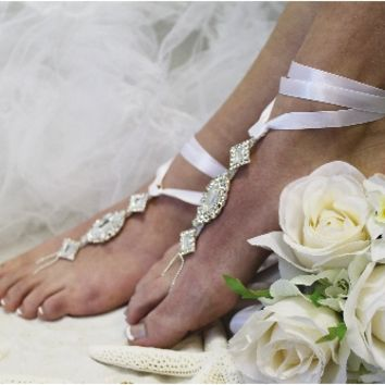 SJ3 ENCHANTED BRIDE white ribbon rhinestone Barefoot sandals, barefoot sandals, wedding shoes, anklets for women,barefoot sandal, footless sandles,beach wedding sandal, slave sandals,bridal barefoot sandals, wedding barefoot sandals,foot jewelry, pearl b