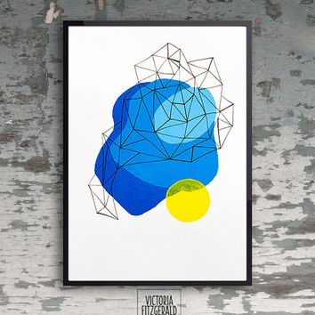 Large Poster A3 Abstract Geometric Duck From Vfitzartist