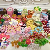 60Pcs/lot Doll Re-ment Mini Food Tableware Miniatures Lovely Dollhouse Meal Drink Megahouse For Barbies BJD Doll House Play Toys