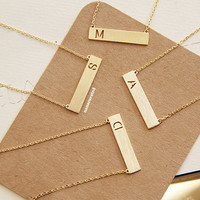 Gold Plated Initial Bar Charm Necklace,Tiny Charm Necklace,GoldPlated Charm Necklace, GoldPlated Necklace, Hipster, Instagram, Holiday Gifts