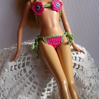 Crochet Barbie Clothes - Two-Piece Green and Pink Barbie Bikini, Miniature Bikini, Flower Applique
