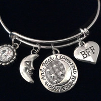 BFF I Love You to the Moon and Back Silver Expandable Charm Bracelet Adjustable Wire Bangle Gift Trendy Stacking
