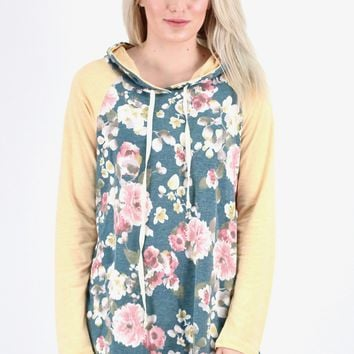 Floral Body + Solid Sleeve Hoodie Tunic {Hunter Green Mix}