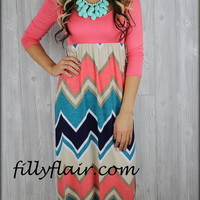 All Ready for Spring Chevron Maxi Dress-Pre-Order - Filly Flair