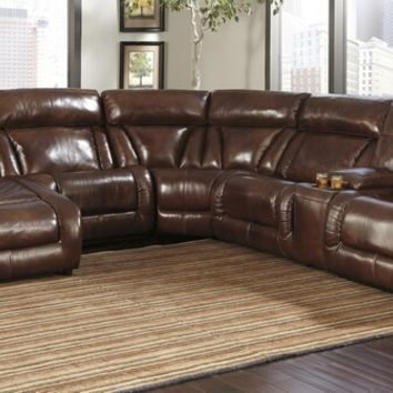 6 pc Elemen II collection harness colored top grain leather match upholstered sectional sofa with power recliners