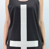 INVERTED CROSS Tank Top Unisex handmade silk screen printing