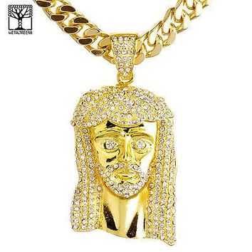 "Jewelry Kay style 14K Gold Plated Iced Out Jesus Pendant 30"" Heavy Cuban Chain Necklace HC 6002 G"