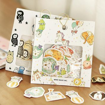 Owls Circus Troupe Animal Label Stickers Decorative Stationery Stickers Scrapbooking DIY Diary Album Stick Lable