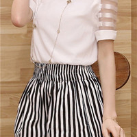 White Sheer Sleeve Top Elastic Band Stripe Shorts Set