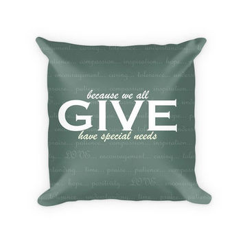 Give Love Cotton Poly Throw Pillow