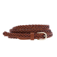 Braided Slim Belt In Light Brown