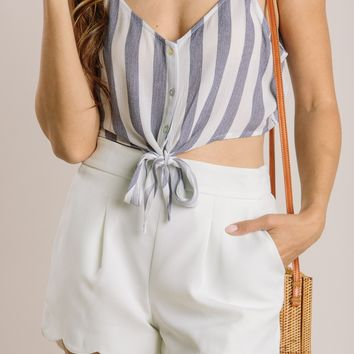Brooke Navy Striped Crop Top