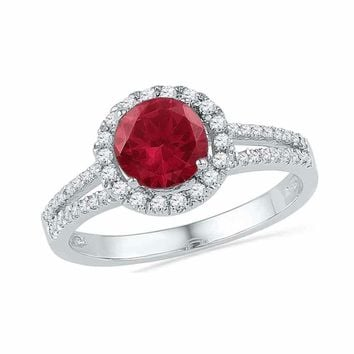 10kt White Gold Women's Round Lab-Created Ruby Solitaire Diamond Halo Ring 1-5/8 Cttw - FREE Shipping (US/CAN)